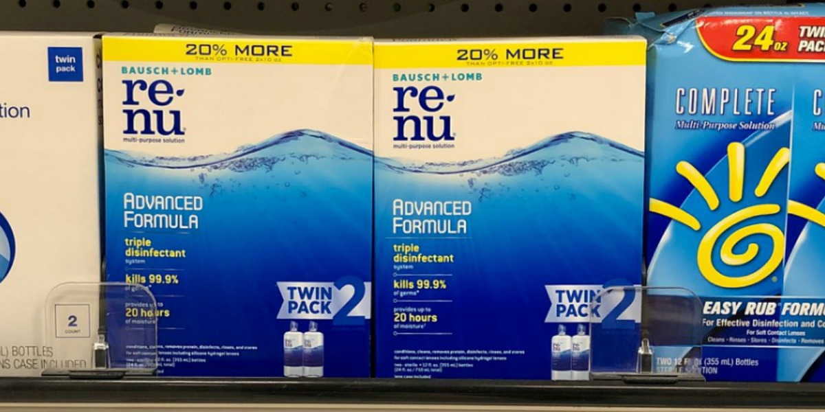 two pack of contact solution in packing on store shelf