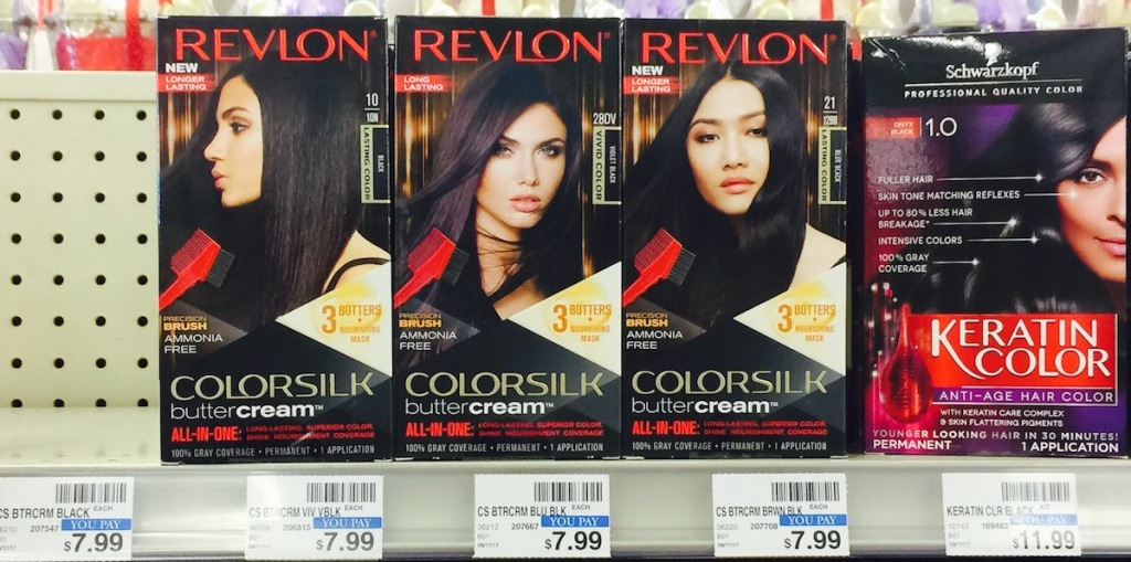 row of boxes of Revlon hair color at CVS