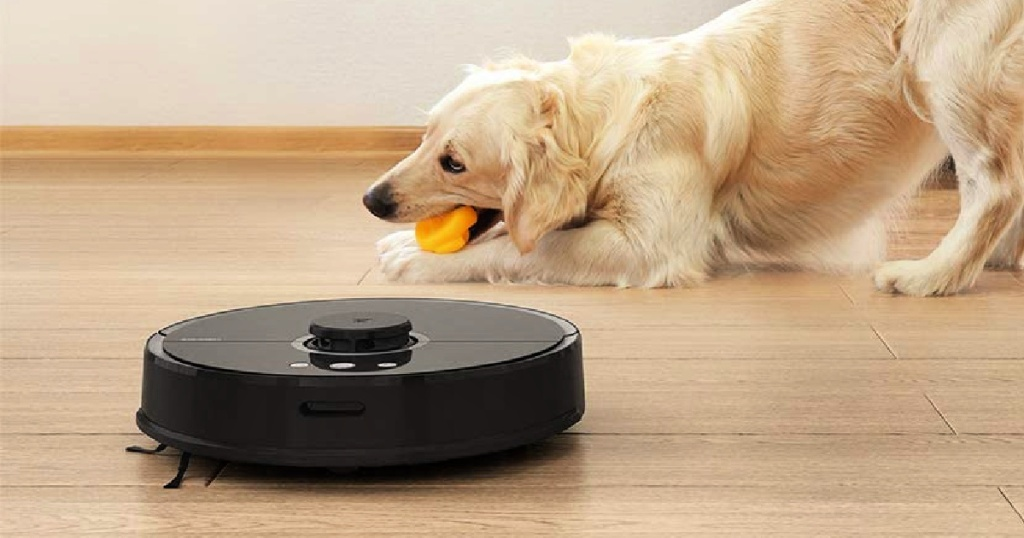 Roborock S5 Robot Vacuum and Mop on floor with dog in background