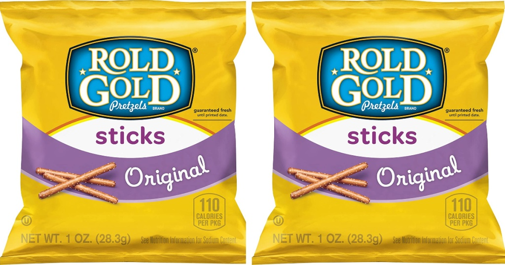 2 small bags of Rold Gold Pretzel Sticks sitting side by side