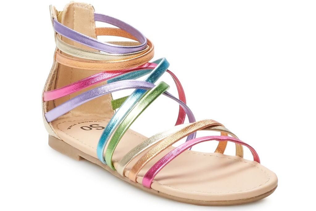girls gladiator sandals with rainbow colored straps