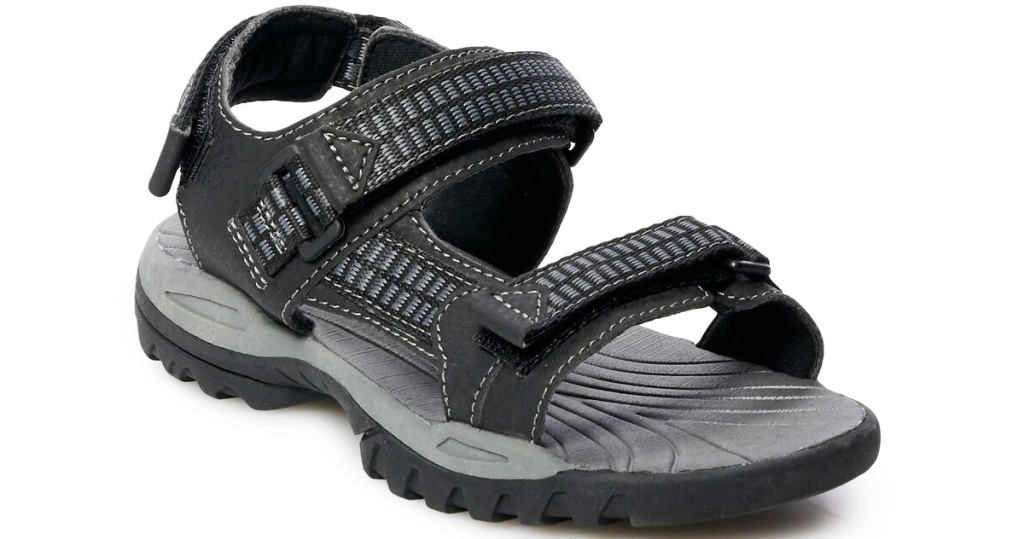 boys black velcro sandals
