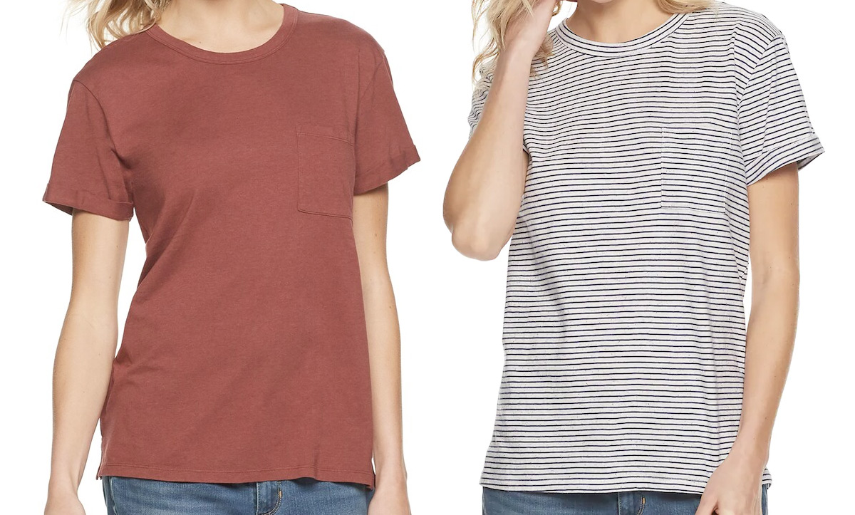 two women modeling tshirts in brick red color and black and white stripes