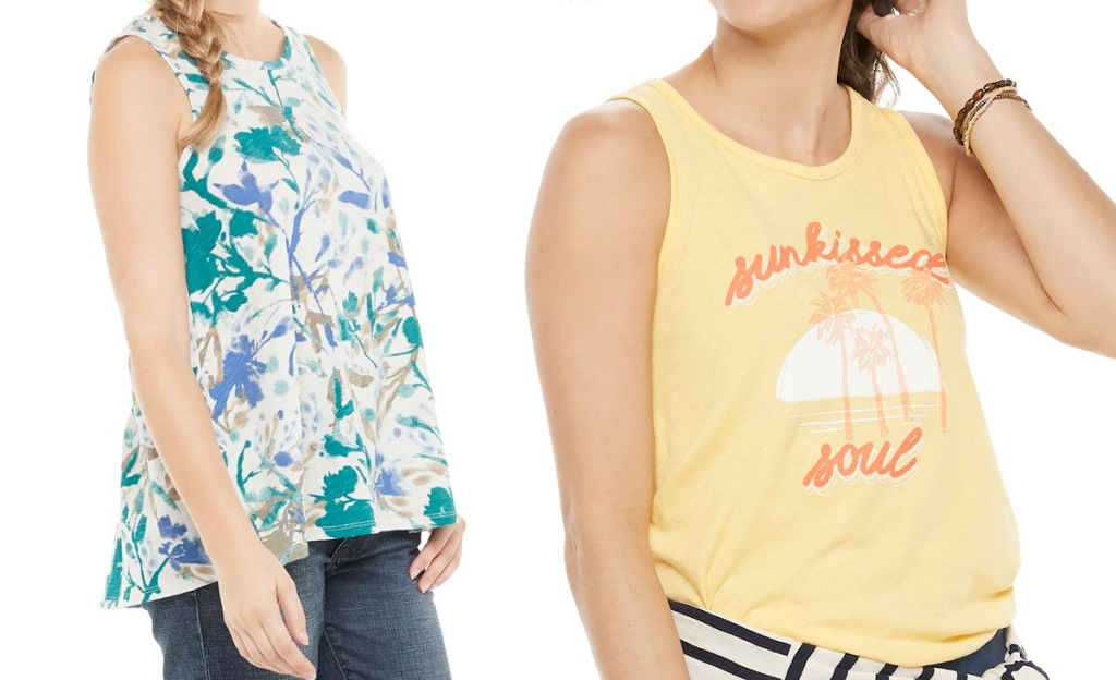 two woemn modeling flowy tank tops in white and blue floral print and yellow sunkissed soul graphic