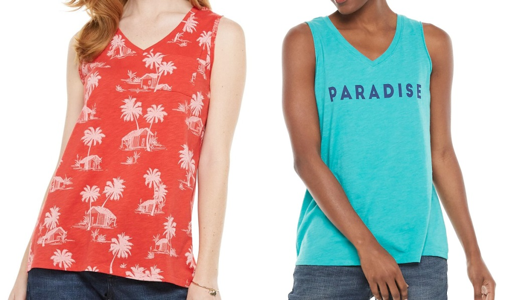 two women modeling v-neck tank tops n red with tropical print and blue that says paradise