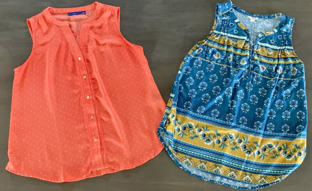 two womens tank tops in red and blue with yellow floral print laying on grey floor