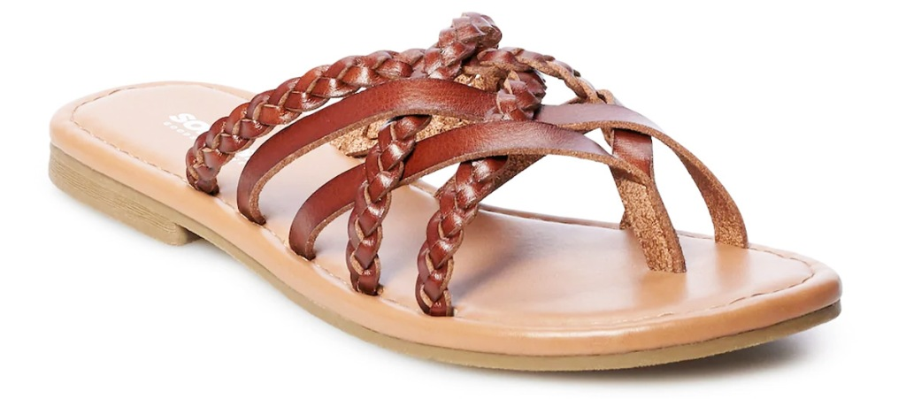 brown leather flat sandal with criss-crossing straps on top