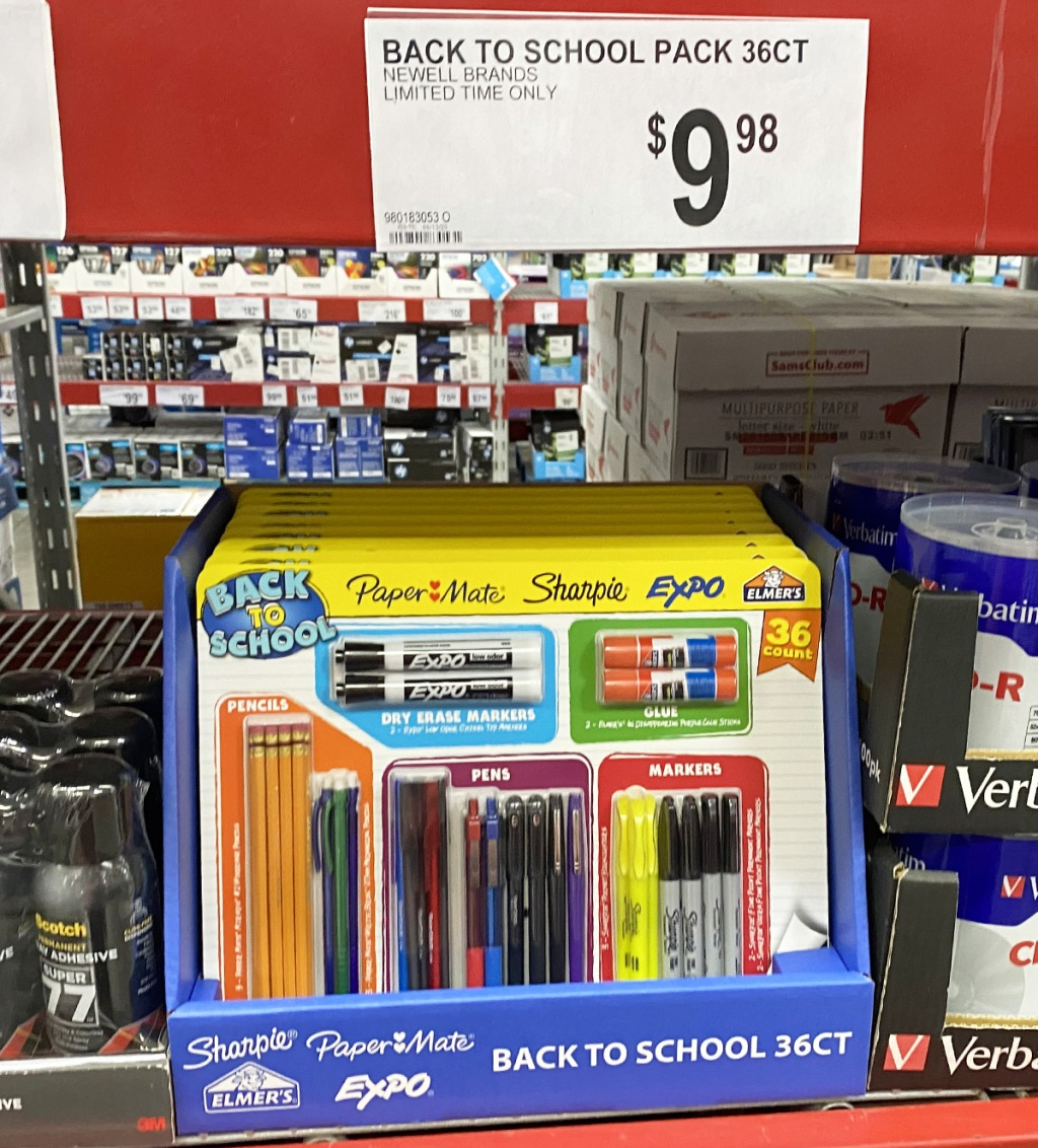 36-piece back to school kit on store shelf with an assortment of pens, pencils, markers, and glue included