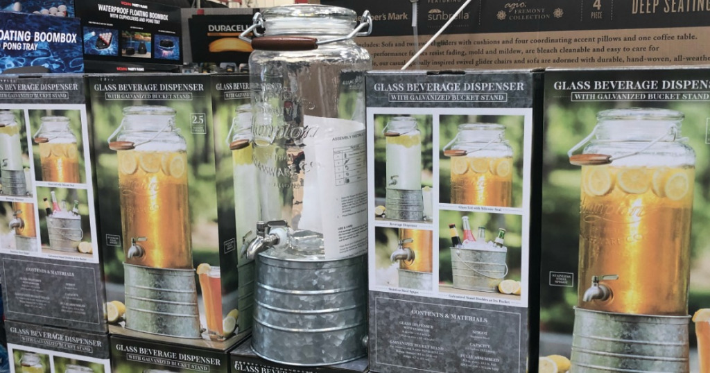 Sam's Club display with beverage dispenser
