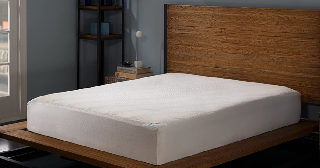 mattress protector on mattress in bedroom