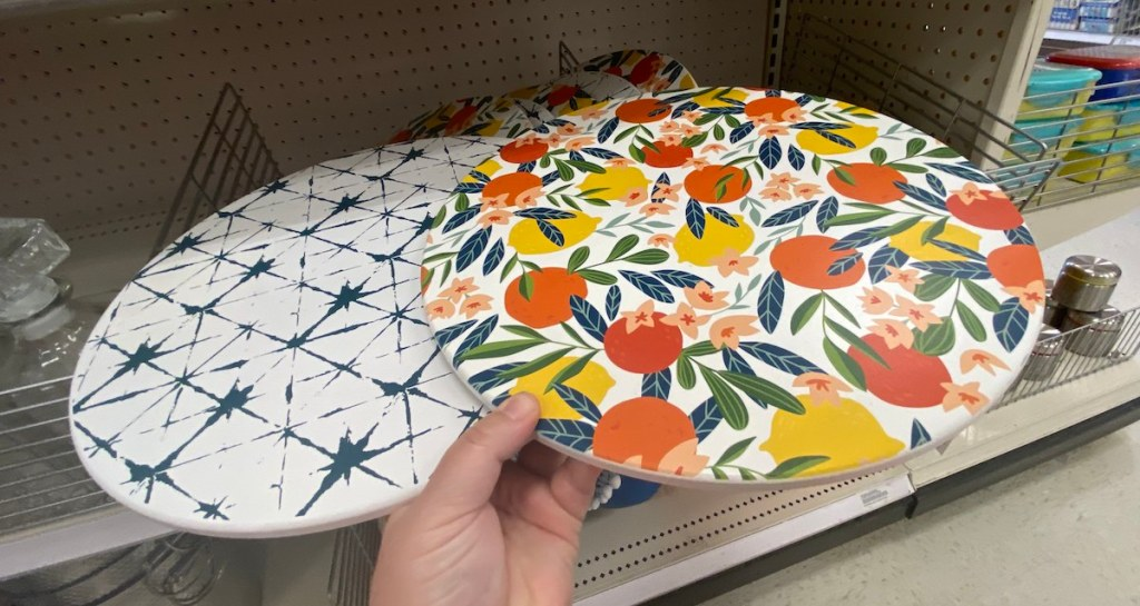 hand holding Serving Platters