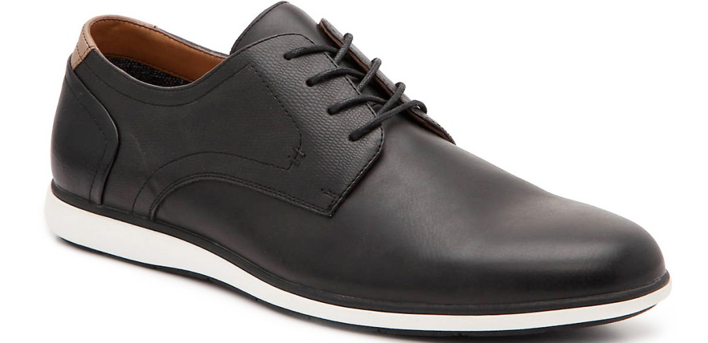 black leather mens oxford shoe with white sole