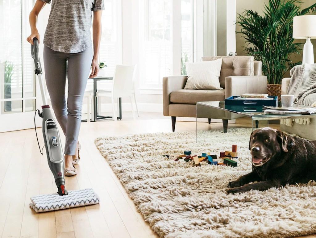 woman pushing steam mop on hardwood floor near dog laying on area rug