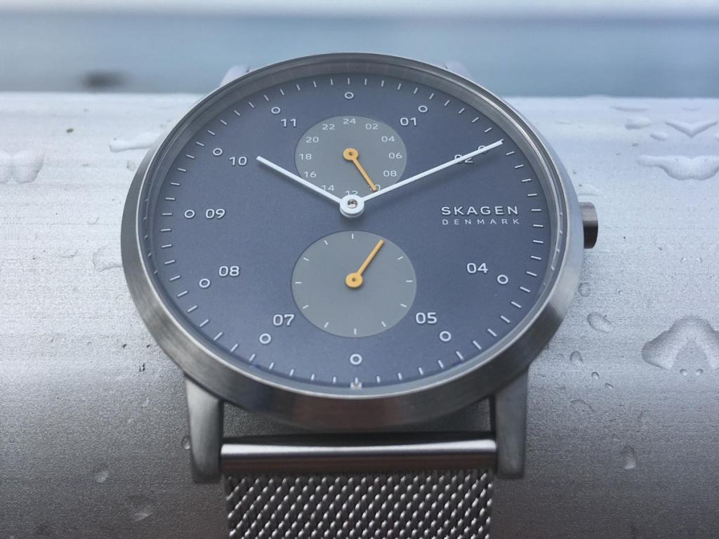 Skagen Silver and blue men's watch with mesh cuff