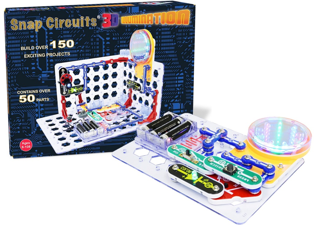 light and illumination themed electronic learning kit with snap on pieces