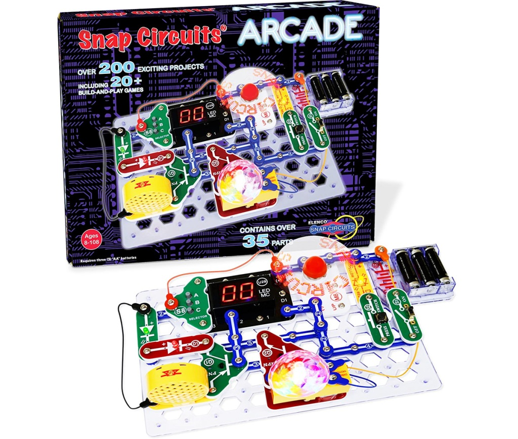arcade themed electronic learning kit with snap on pieces