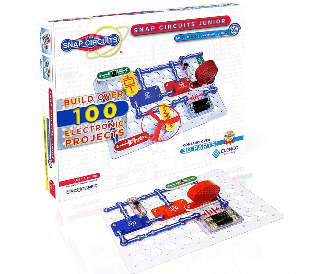 electronic and circuit board learning kit with snap on pieces