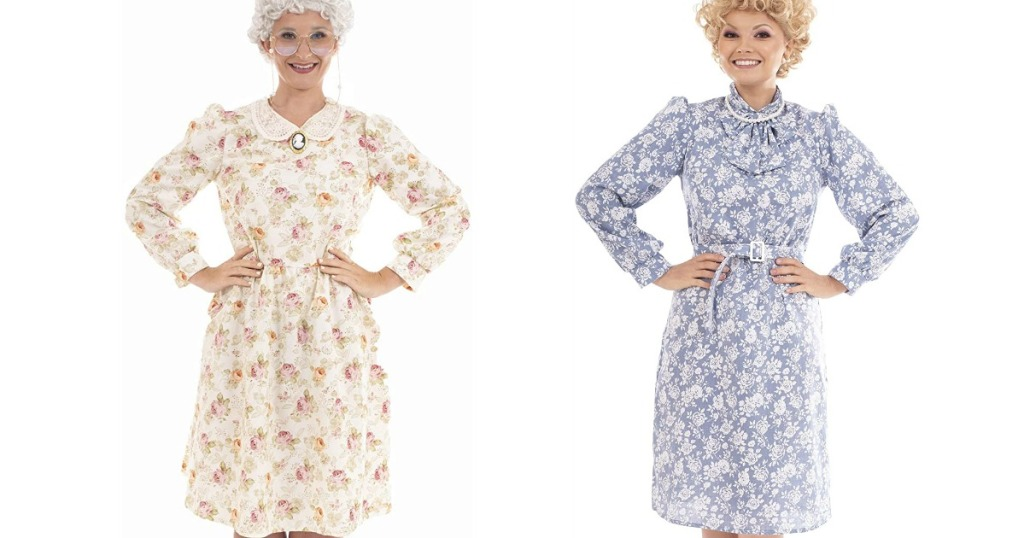two women in Sophia and Rose from Golden Girls costumes