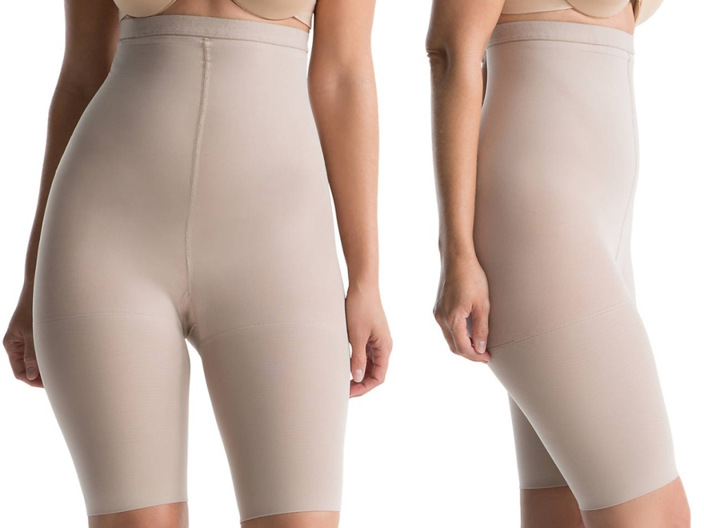 woman in nude high waist shaping shorts