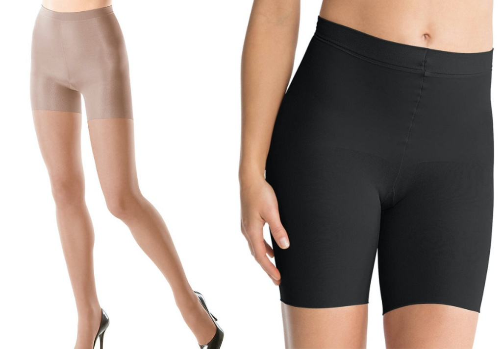 woman in nude tights and woman in black shapewear shorts