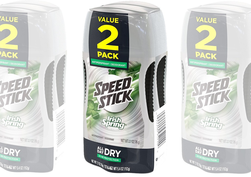 grey and black two-pack sets of speed stick irish spring scented deodorant