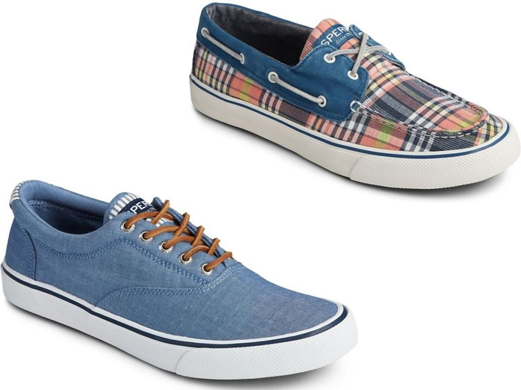 two right foot men's boat shoes