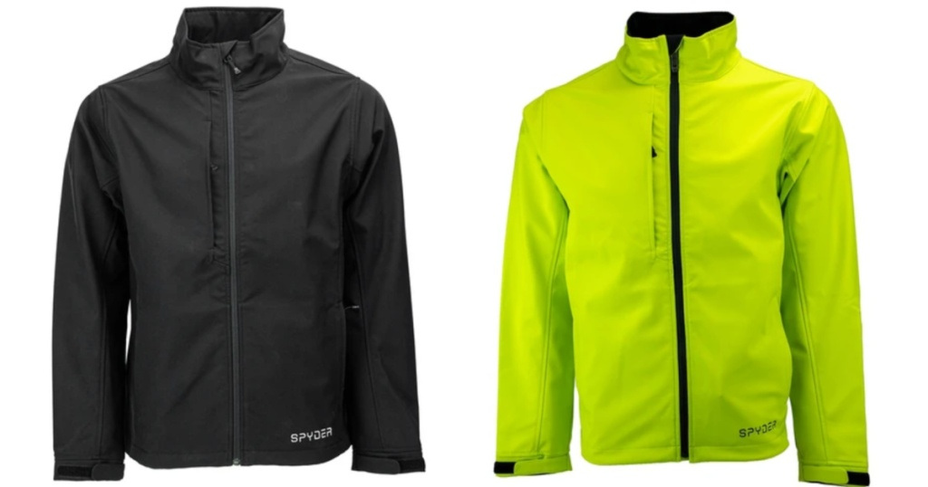 2 men's jackets - bright green and black