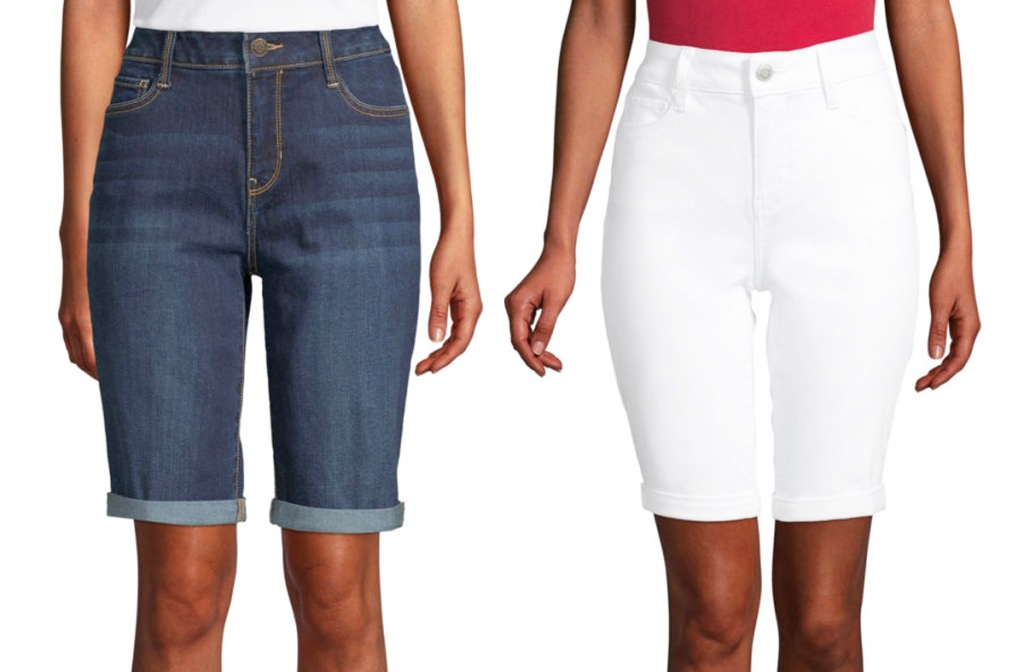two women modeling bermuda shorts in dark denim wash and white
