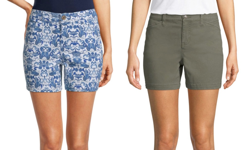 two women modeling shorts in blue and white floral print and solid olive green colors