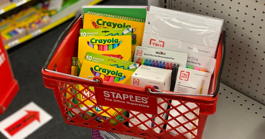 staples basket with assorted school supplies items like crayola and tru red