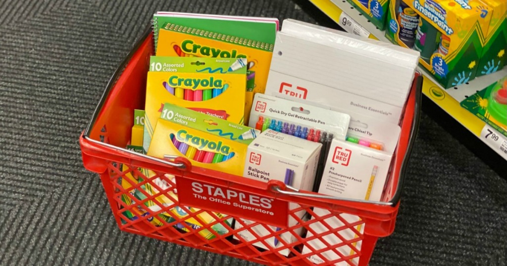 Staples basket with school supplies
