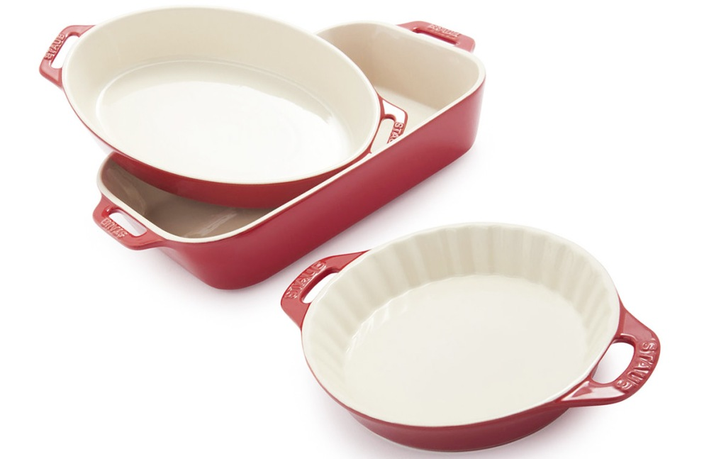 red and white 3 piece ceramic bakeware set