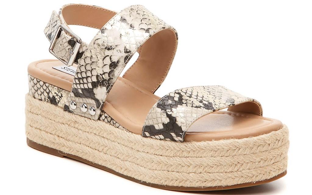 womens snakeskin print platform sandal