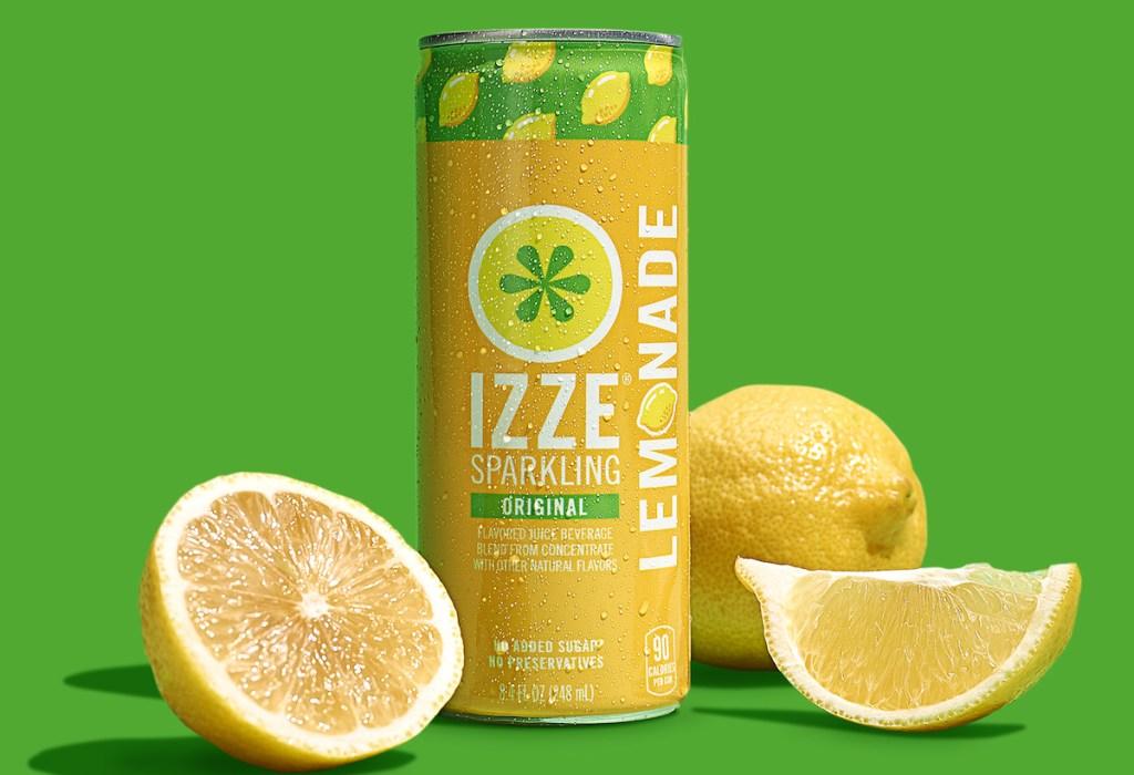 stock image of izze lemonade with lemon slices by it