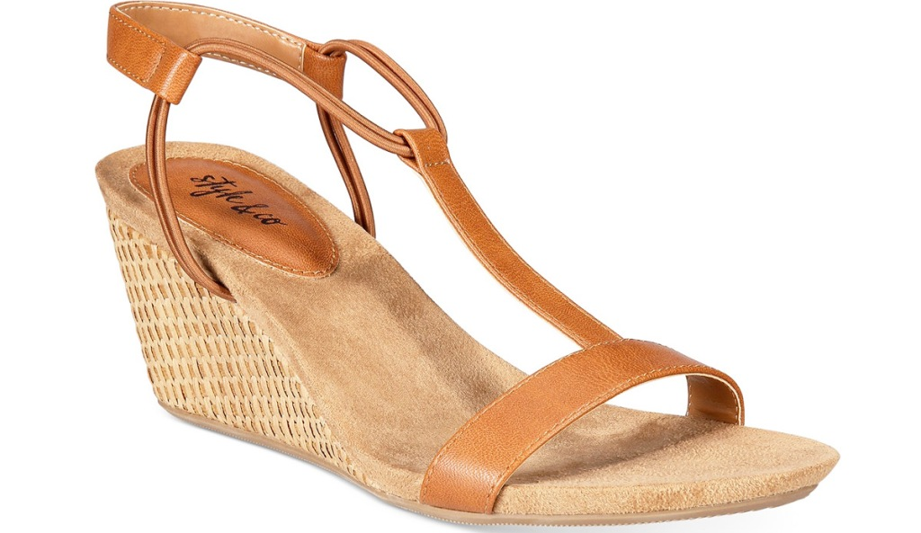 brown leather wedge womens sandal