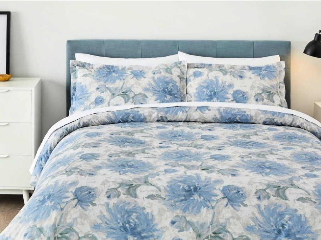 StyleWell Corinne 3 Piece Floral Comforter Set in bedroom on bed