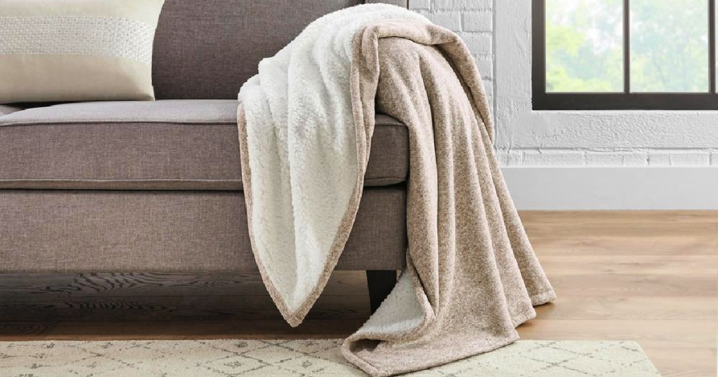StyleWell Oversized Sweater Knit Sherpa Throw Blanket