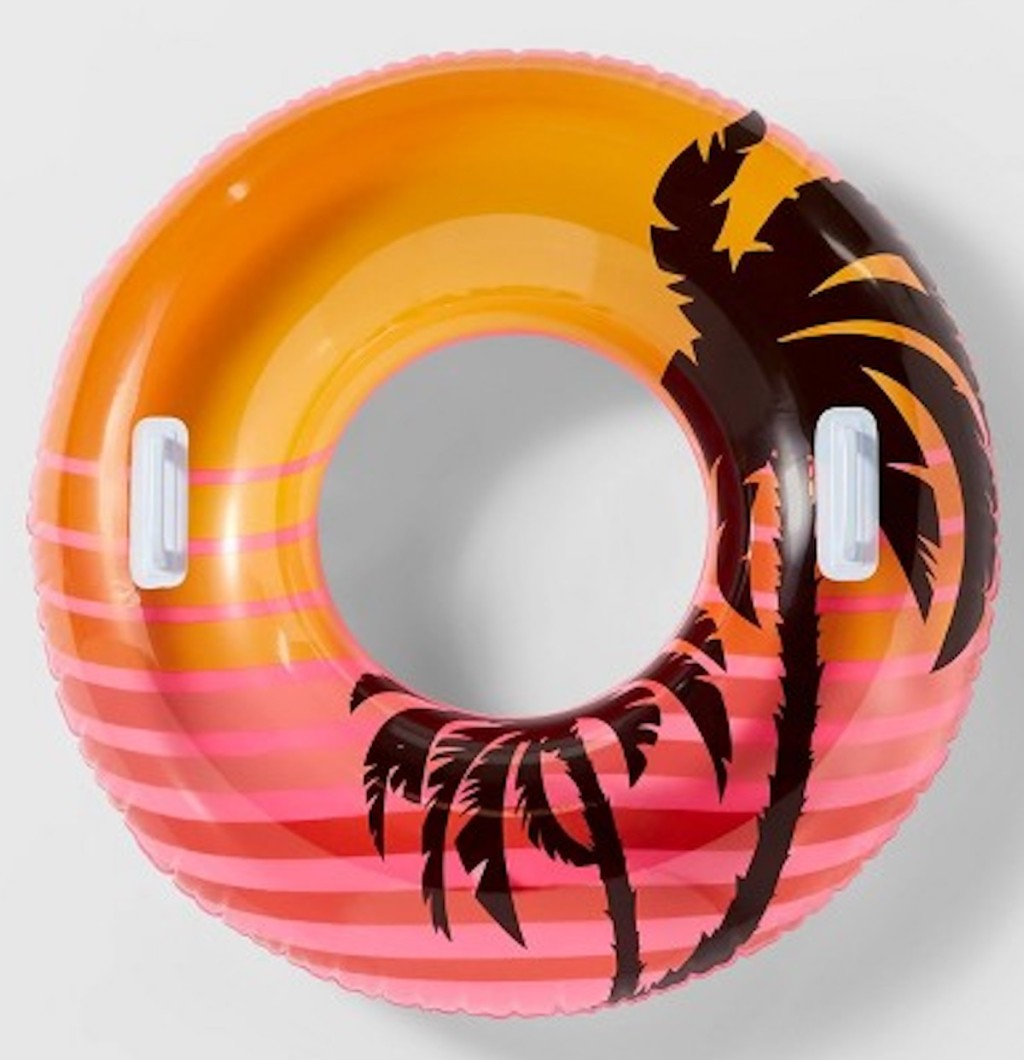 """pink sunset with palm tree designed Sun Squad 38"""" Swim Tube with Handles"""