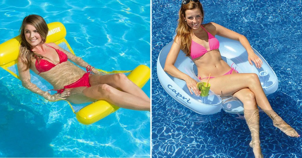 Woman sitting in Swim Floats from Zulily