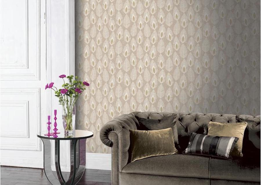 Sylvan Leaf wallpaper on living area wall