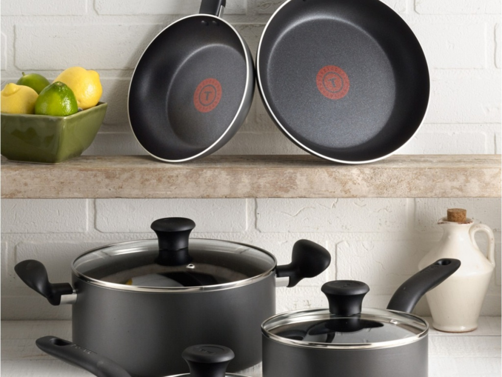 t-fal pots and pans on stove in kitchen