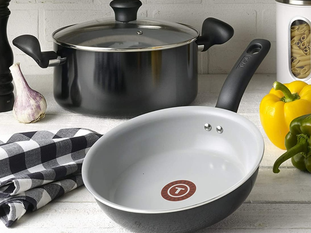 black pot and clear lid with white and black pan showing T-fal logo