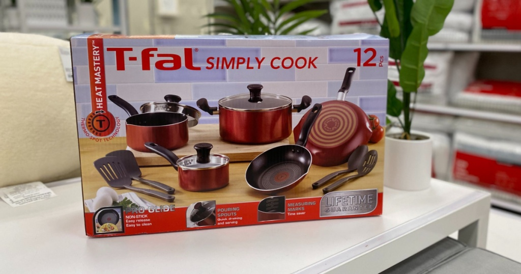 t-fal simply cookware set on display in store