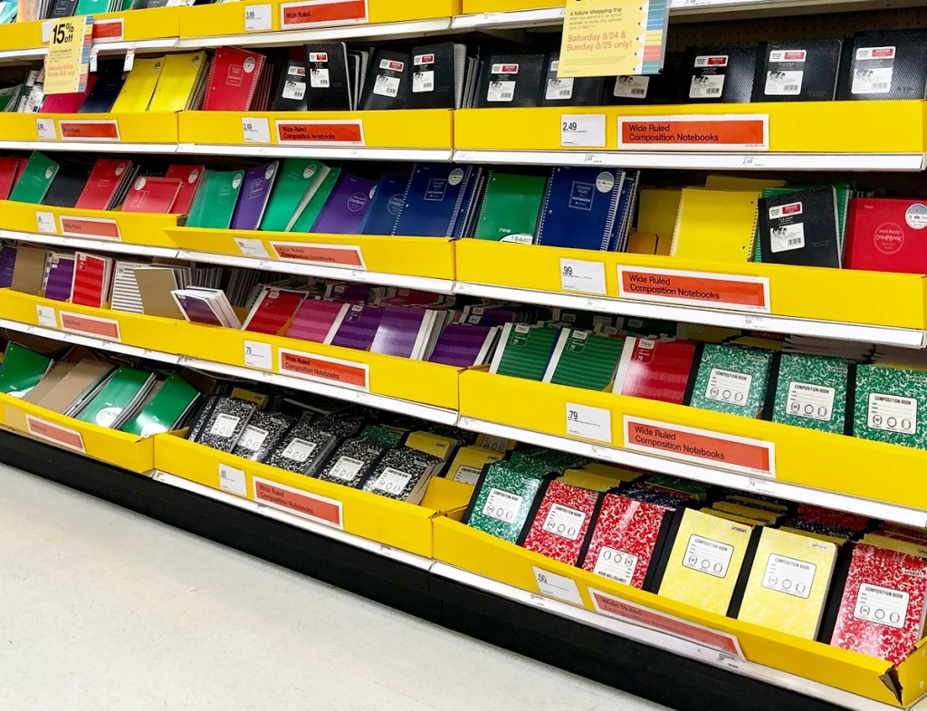 aisle of various back to school notebooks and folders
