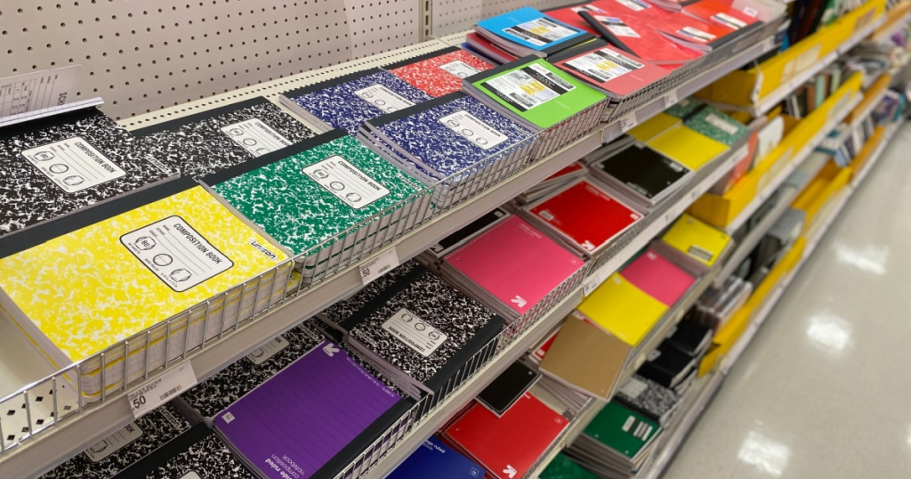 notebook aisle in store