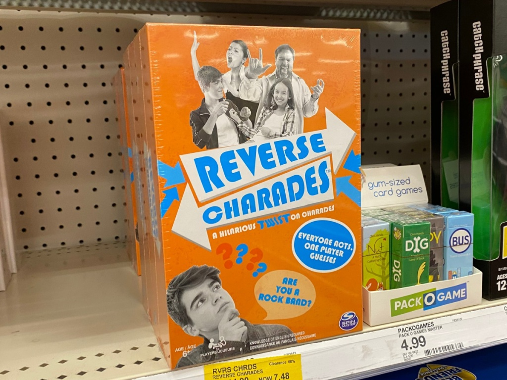 Reverse Charades Board Game sitting on store shelf