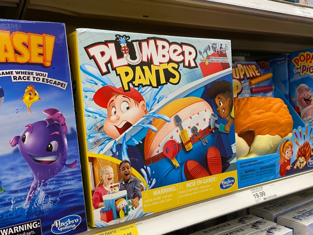 Plumber Pants Board Game sitting on store shelf in store target