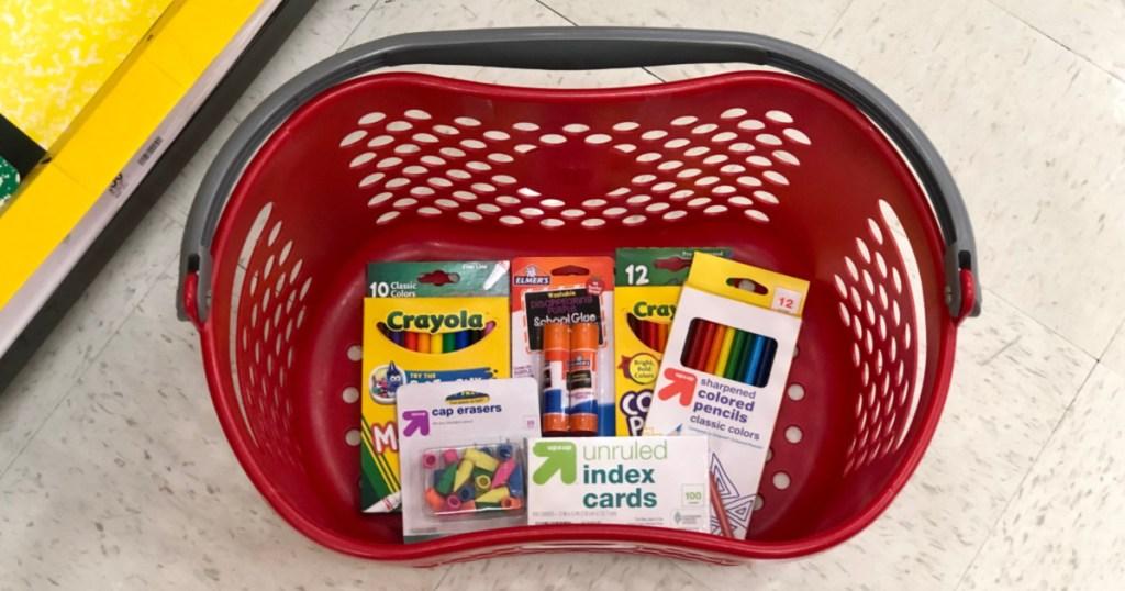school supplies in target basket on floor