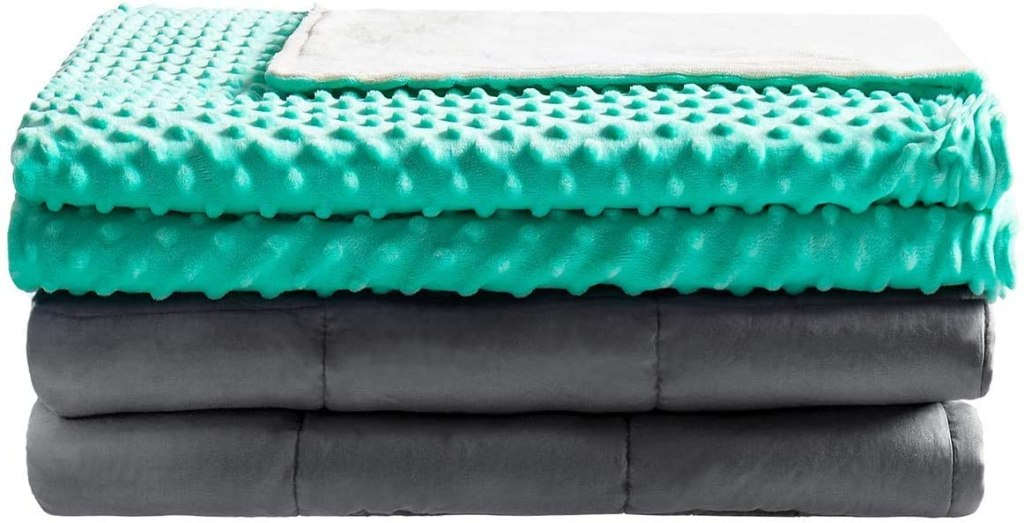 Teal Weighted Blanket stack