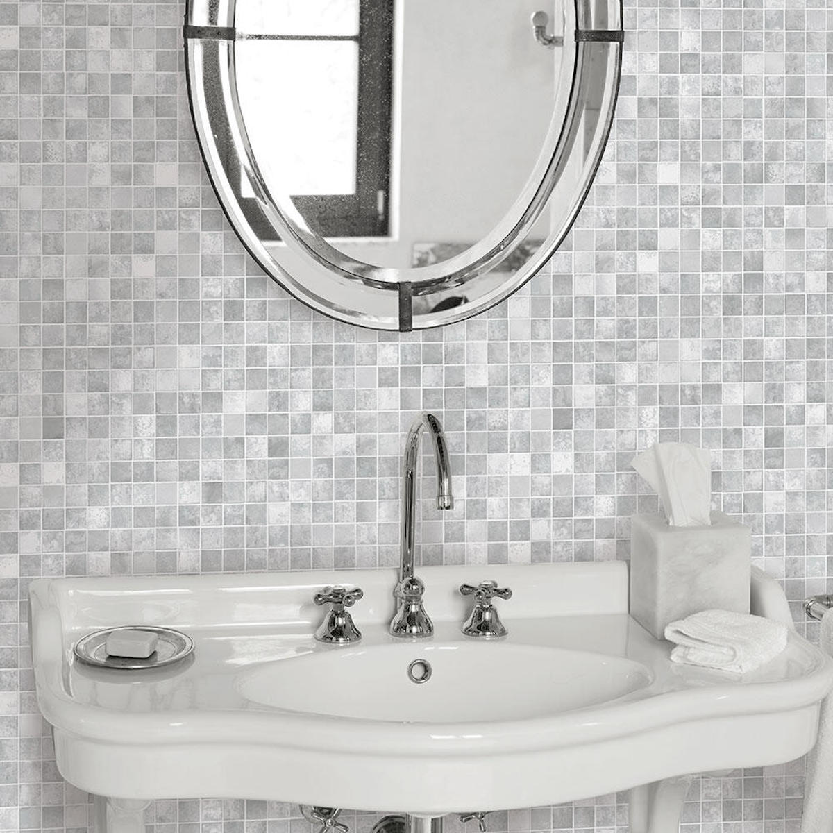 grey scale colored Tempaper Mosaic Tiles Grey Peel and Stick Wallpaper on bathroom wall with vanity